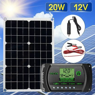 New 20W 12V/5V Solar Panel USB Power Charger and 5/24V 30A LCD Solar Controller-