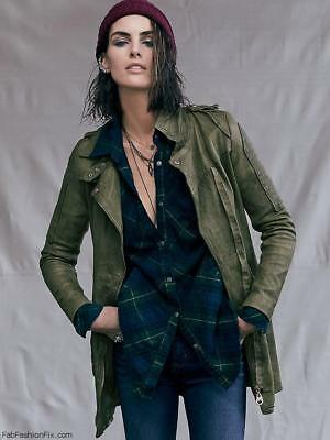 NEW Free People green OVERSIZED PLAID BOYFRIEND flannel button down shirt M