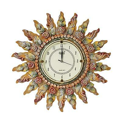 Antique Vintage Wooden Wall Clock Sun Flower Crafted Wall Clock Designer Clock
