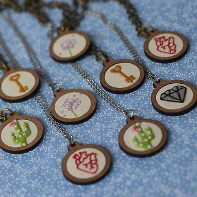 Mini Embroidery Hoop Wooden Frame Small Hand Stitching Hoop Necklace DIY Crafts-