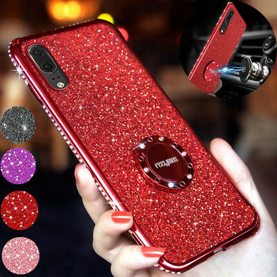 For Huawei P20 Lite P30 Pro Bling Diamond Ring Stand Holder Plating Case Cover