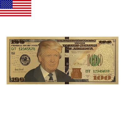10PC President Donald Trump Colorized 100 Dollars Bill Gold Foil Banknote US ON