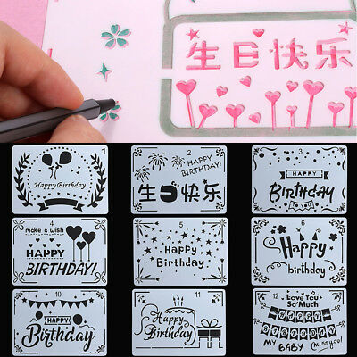 Happy Birthday Scrapbooking Layering Stencils For DIY Wall Painting Template--