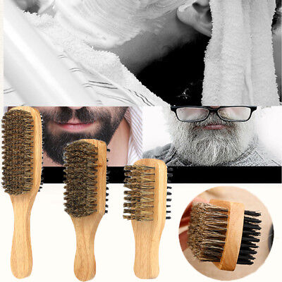 Double-sided Wood Handle Men's Beard Brush Facial Hair Brush Comb Shaving Tool--