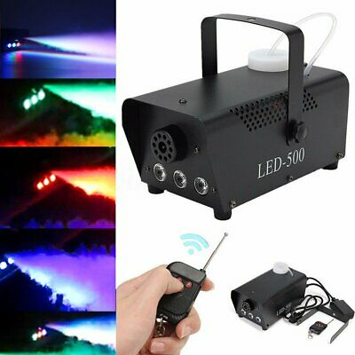 Smoke Machine Fog Mist Effect Christmas DJ Party Disco Coloured LED Flame 500W