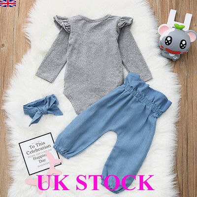 UK Newborn Outfit Baby Girls Rompers Leggings Playsuit Clothes Bodysuit Headband