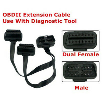 Flat 16Pin ELM327 OBD2 Male Dual Female Y Splitter Elbow Extension Cable Lead BR