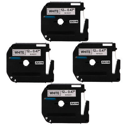 M-K231 MK231 Label Tape Black on white Compatible Brother P-touch maker 12mm 4PK