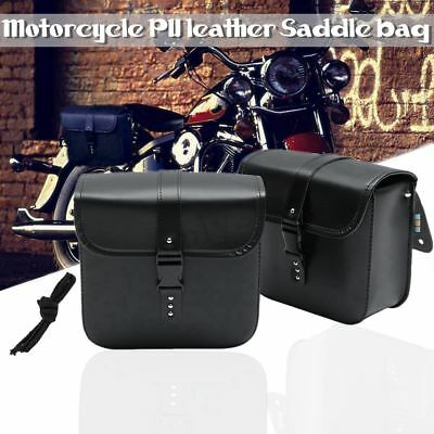 2x Universal Motorcycle Saddle Bag PU Side Storage Tool Pouch Bag For Harley