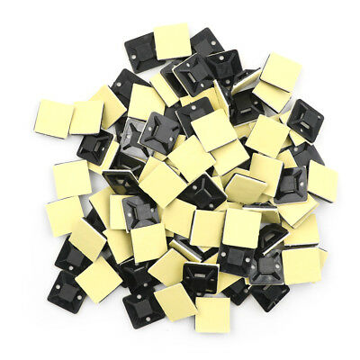 100 Pcs Self Adhesive Cable Tie Mount Base Holder 20 x 20 x 6mm BR