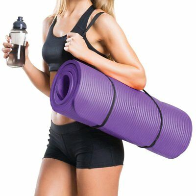 Exercise Yoga Mat 10mm Extra Thick and Carry Strap Large Non Slip Design RB