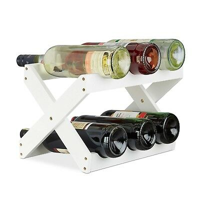 Relaxdays Bamboo Wine Rack, X Shape, 6 Bottles, Country House Style, Small,