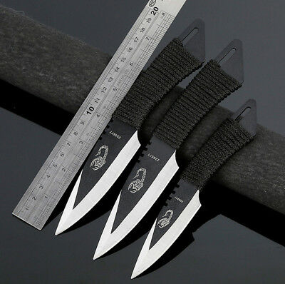 Throwing Tactical Fixed Straight Blade Knife Hunting Camping Sheath Survival