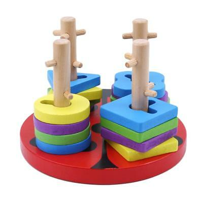 Colourful Wooden Shape Sorter Board With Geometric Blocks For Kids Child Toy T