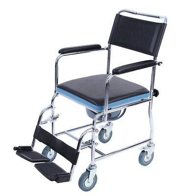 3 In 1 Mobile Commode Chair Bedside Commode Wheelchair Toilet Rolling Chair