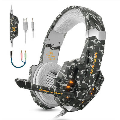 3.5 mm Gaming Headset MIC LED Stereo Kopfhörer für PC Laptop PS4 Xbox One NS