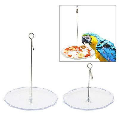 Bird Parrot Cage Stainless Steel Skewer Food Meat Stick Plate Fruit Holder Toy