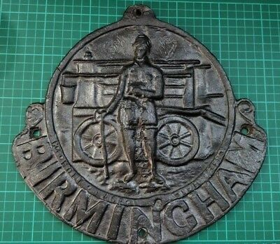 Heavy Birmingham Insurance Fire Mark Plate Plaque 1878