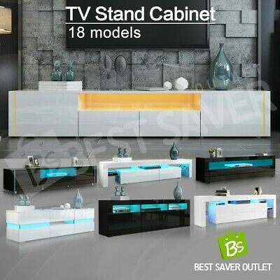 High Gloss TV Stand Wooden Entertainment Unit Cabinet Storage w/RGB LED WH/BK