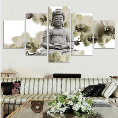 Hd Printed MODERN BUDDHA 5 PANEL  Painting Canvas Print Room Decor Print Poster