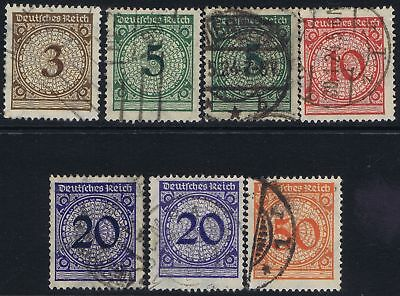 German Reich 1923 Mi 338-342 Post-inflation Figure in Circle definitives used