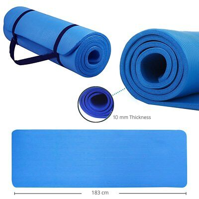 Yoga Mat 10mm Large Thick Pilates Exercise Gym Floor Non Slip Camping NBR RB