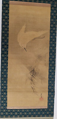 Antique Chinese Japanese Scroll Painting Box Crane Heron Egret Signed