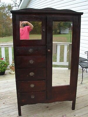 Vintage Retro 1940's 50's wardrobe with mirrors and drawers