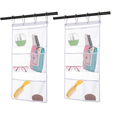 2 Pack Hanging Mesh Shower Caddy Organizer with 6 Pockets, Shower Curtain Hooks