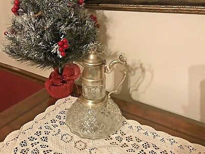 Antique Crystal & Silver Plate Wine Or Claret Carafe / Decanter / Pitcher / Jug