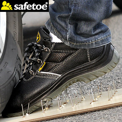 Mens Leather Safetoe Safety Work Shoes Steel Toe Water Resistant Anti-nail Black
