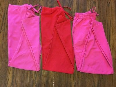 Lot Of 3 Medical Scrub Pants Women's Size M Pinks And Red