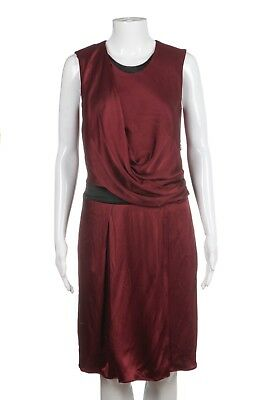 2ecd709d1e46 HELMUT LANG Dress 4 Dark Red Black Trim Sheath Cocktail Draped Satin