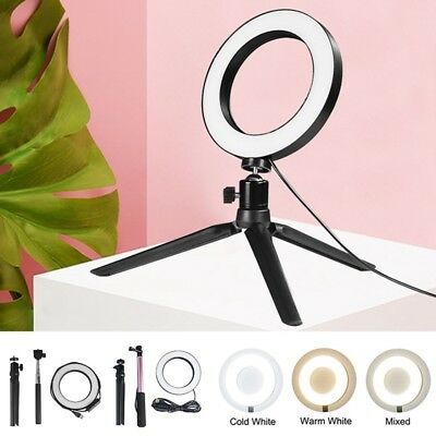 """6"""" LED Studio Ring Light Video Dimmable Stand Selfie Stick Kit For Phone Camera"""