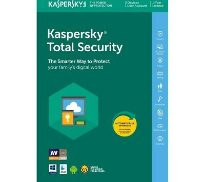 Kaspersky Lab Total Security 2019 3 Devices 1 Year MSB