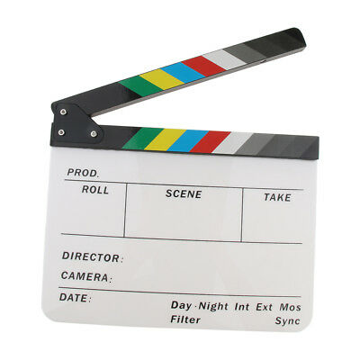 Lovoski Colorful Written Clapboard for Movie TV Series Acrylic Wooden Slat