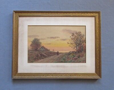 Listed Artist William Paskell (1866-1951) Luminist Landscape Watercolor Painting