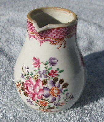 Antique Chinese export porcelain creamer pitcher18thC famile rose QianLong Ching