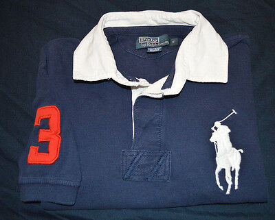 Mens Polo RALPH LAUREN Navy Blue White Classic Fit RUGBY Big Pony Shirt Small S