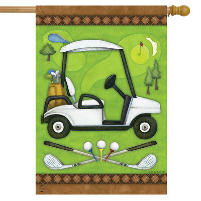 "Golf Spring House Flag Cart Clubs Sports 28"" x 40"" Briarwood Lane"