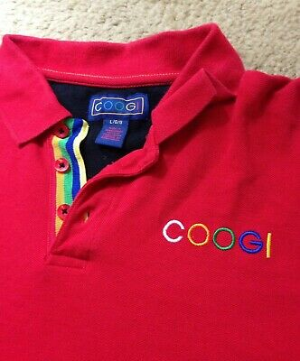 0b34d8ba18e Coogi Australia Polo Rainbow Spell Out Logo 2 Sided Red - Large L (Fits  Small