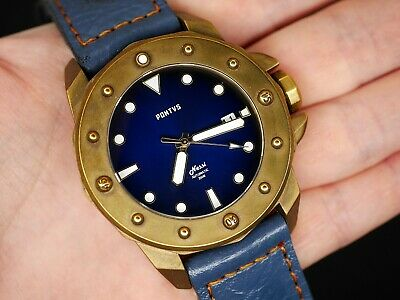 ✅ Pontvs Nessi Brass Blue Diver 47Mm, Extra Strap, New Le International Shipping