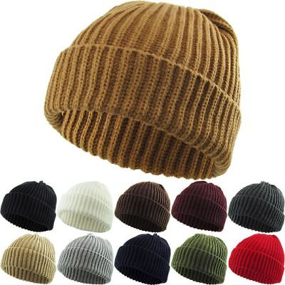 d7c2c5e7b4cd08 Thick Ribbed Beanie Knit Ski Cap Skull Hat Warm Solid Color Winter Cuff  Blank