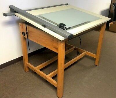 """DRAFTING LIGHT TABLE with VEMCO 520 TRACK PROTRACTOR (48"""" X 36"""") OAK FRAME"""