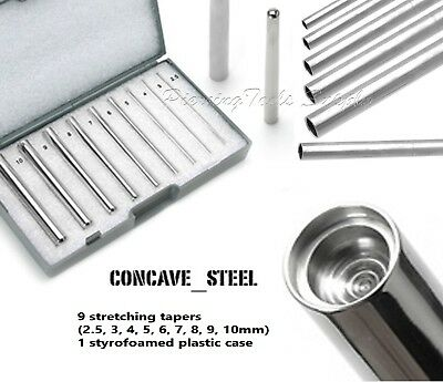 9pcs Surgical Steel Concave Taper Expander Ear Piercing Stretching Kit with Case