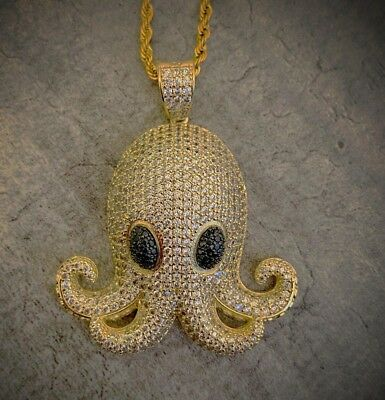 Fully Iced Out 14k Emoji Octopus Pendant with 24'' Rope Chain