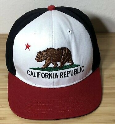c20e9a64 CALIFORNIA REPUBLIC L.O.G.A Cap Hat Bear Adjustable Snap-Back Red ...