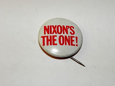 "Vintage ""Nixon's The One!"" Button Pin Richard Nixon Presidential 7/8"" EUC"