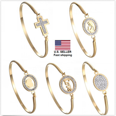 Mother Gold Stainless Steel Love Heart Women Cuff Bracelet Bangle Family Jewelry