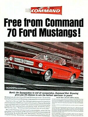 1964 PRINT AD Command Hair Products ~ Ford Mustang Sportscar